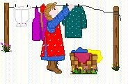 On a clothesline