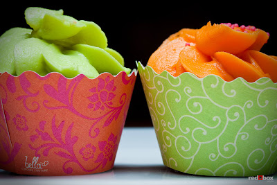 orange and green cupcake wrappers
