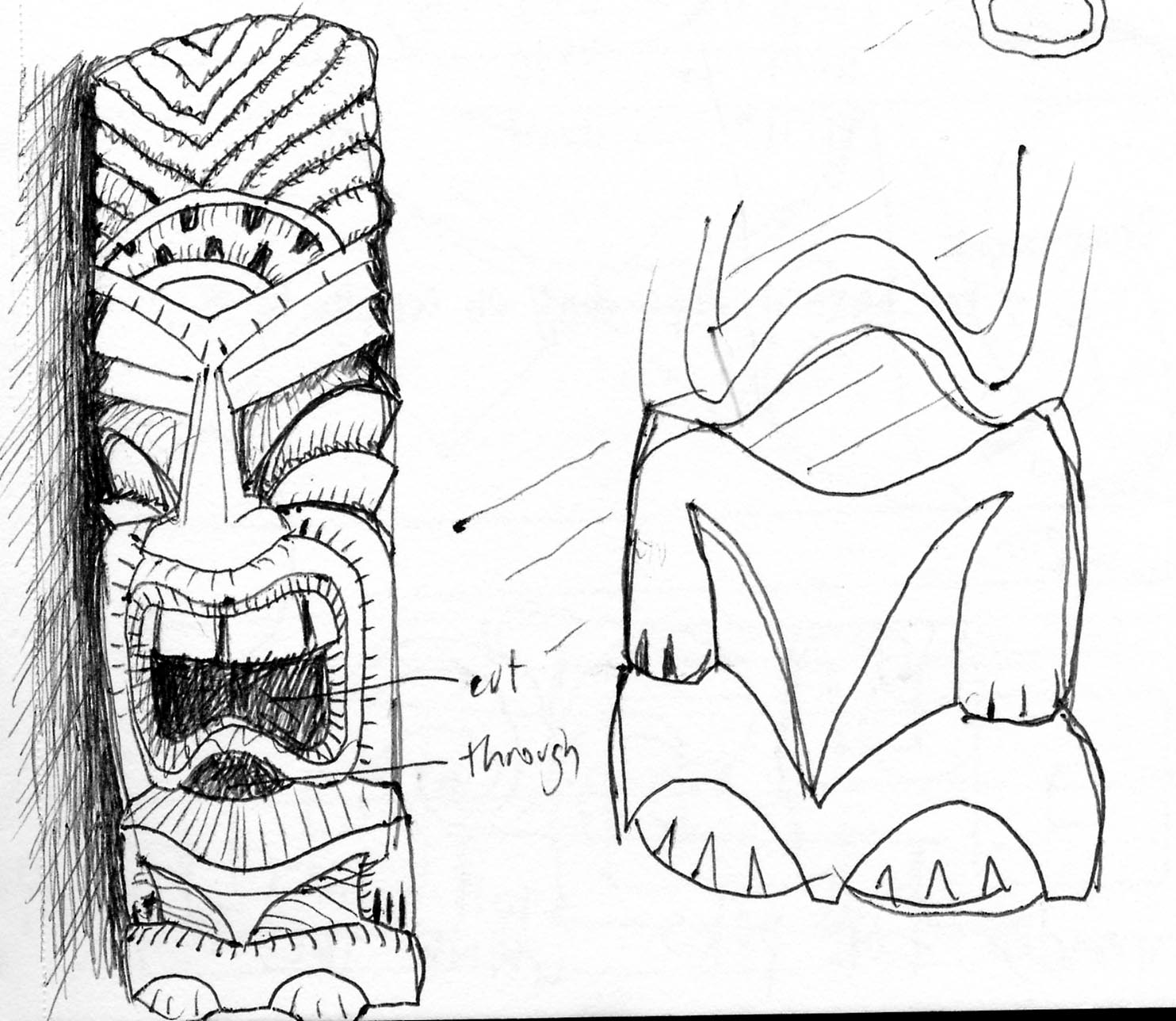 tiki masks colouring pages
