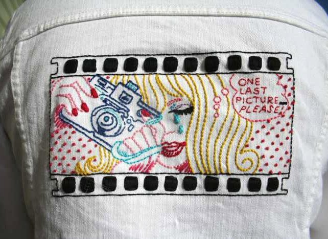 Sew Lovely Embroidery White Jean Jacket Embroidery