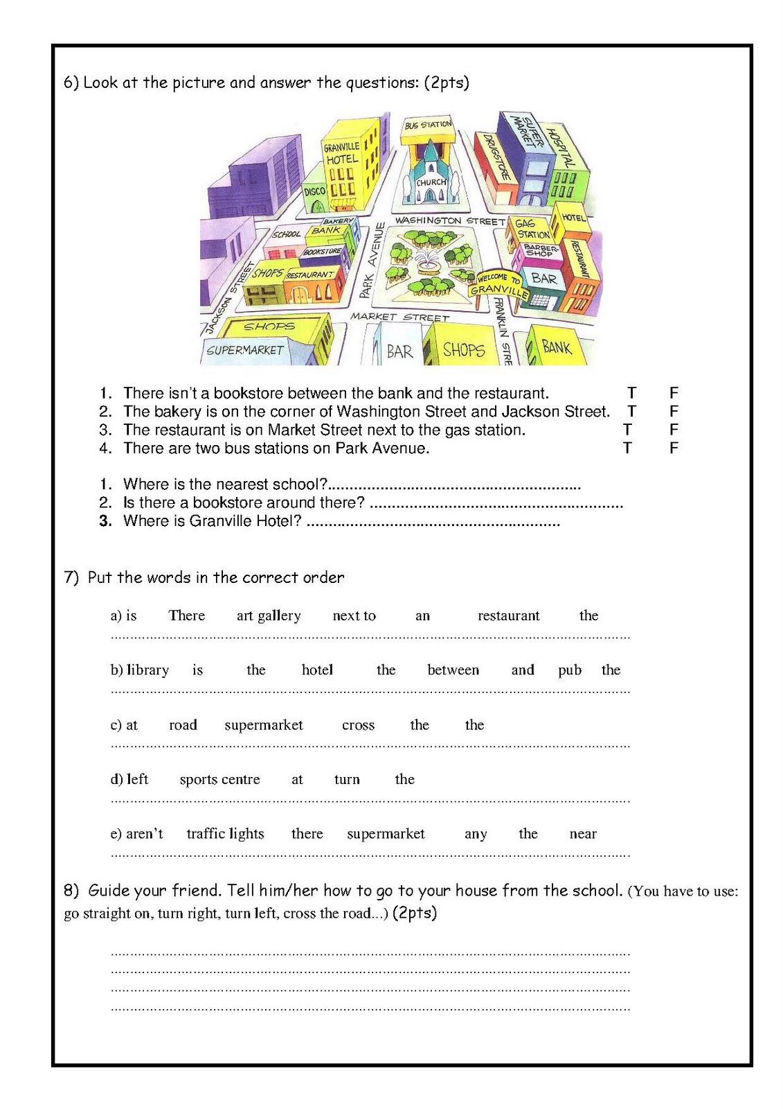 English For Children My City Exam