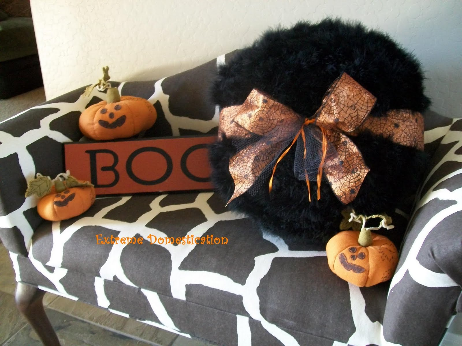 Extreme Domestication: Powder Puff Halloween Pillow