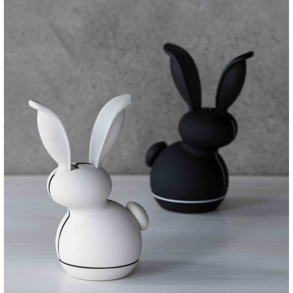 We Got The Junior Version A Little Meringue And Black Rabbits Set With Magnet At Back Of It Its Snuggly Made Home On Our White Fridge