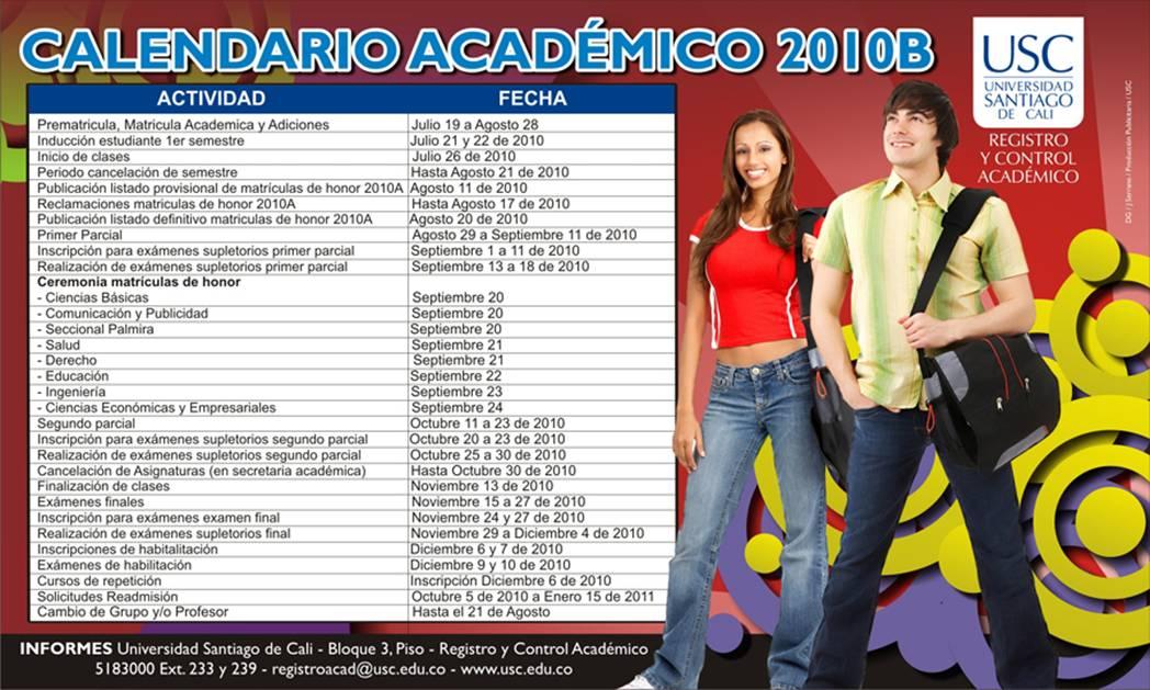 Usc Calendario.Ingenieria Electronica Usc Calendario Academico 2010b