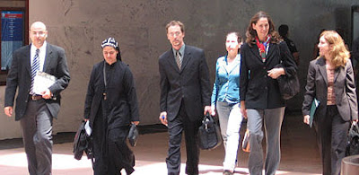 From right to left: Iraqi peacebuilders Samuel Rizk, Sister Helen, EPIC's Erik Gustafson, Hero Anwar, Lynn Kunkle and Lisa Schirch, outside the Hart Senate Office Building. (photo by Geoff Schaefer)
