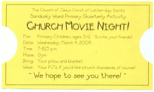 Lds Activity Day Ideas Movie Night