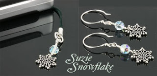Suzie Snowflake Crystal Earrings (E215) and Snowflake Zipper Pull Charm (CPC024)