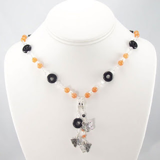 Aventurine Onyx Gemstone Crystal Butterfly Charm Necklace (N046)