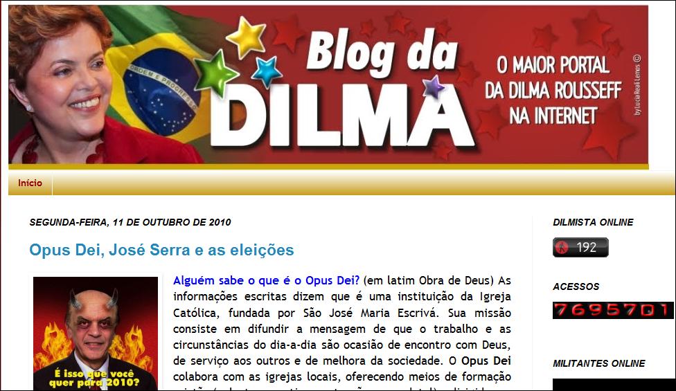 754b0dc55bf76 ... a candidata, contra Serra. Vejam abaixo, é o Blog Oficial da Dilma, o  Portal da Dilma na Internet, que leva o seu nome, a sua cara! Vejam o que  está lá!