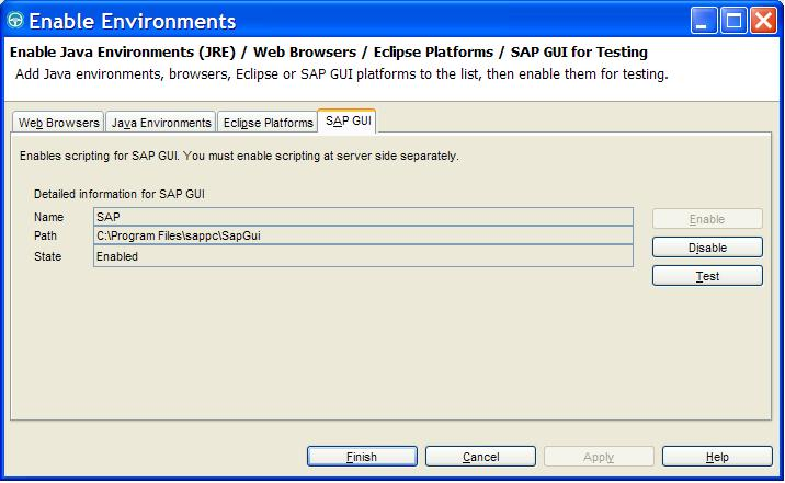 Enabling SAP application (SAP GUI) for testing with Rational