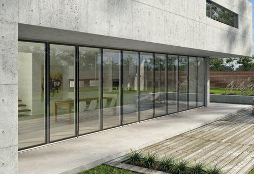 Marzua puertas de cristal plegables de exterior de solarlux for Puertas de cristal para exterior
