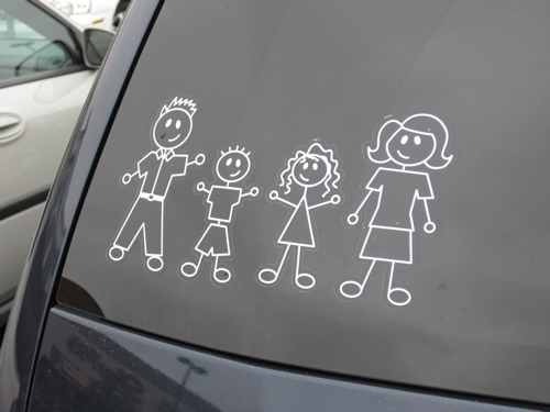 Its the thing to do here in new jersey to show the composition of your family via stickers on the back window of your car are these stickers as popular
