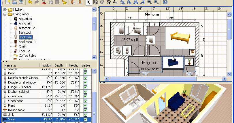sweet home 3d un logiciel gratuit de design int rieur elyotherm. Black Bedroom Furniture Sets. Home Design Ideas