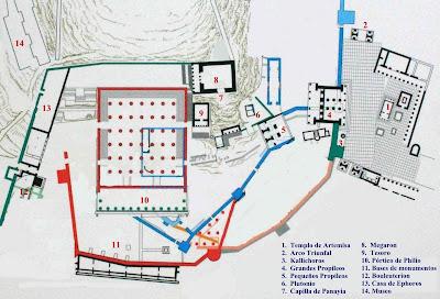 Plano o mapa de Elefsina o Eleusis
