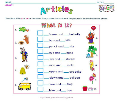 Grammar Worksheets Grade 1 Articles 2