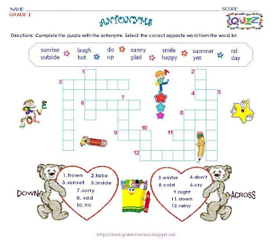 puzzle worksheet for grade 1