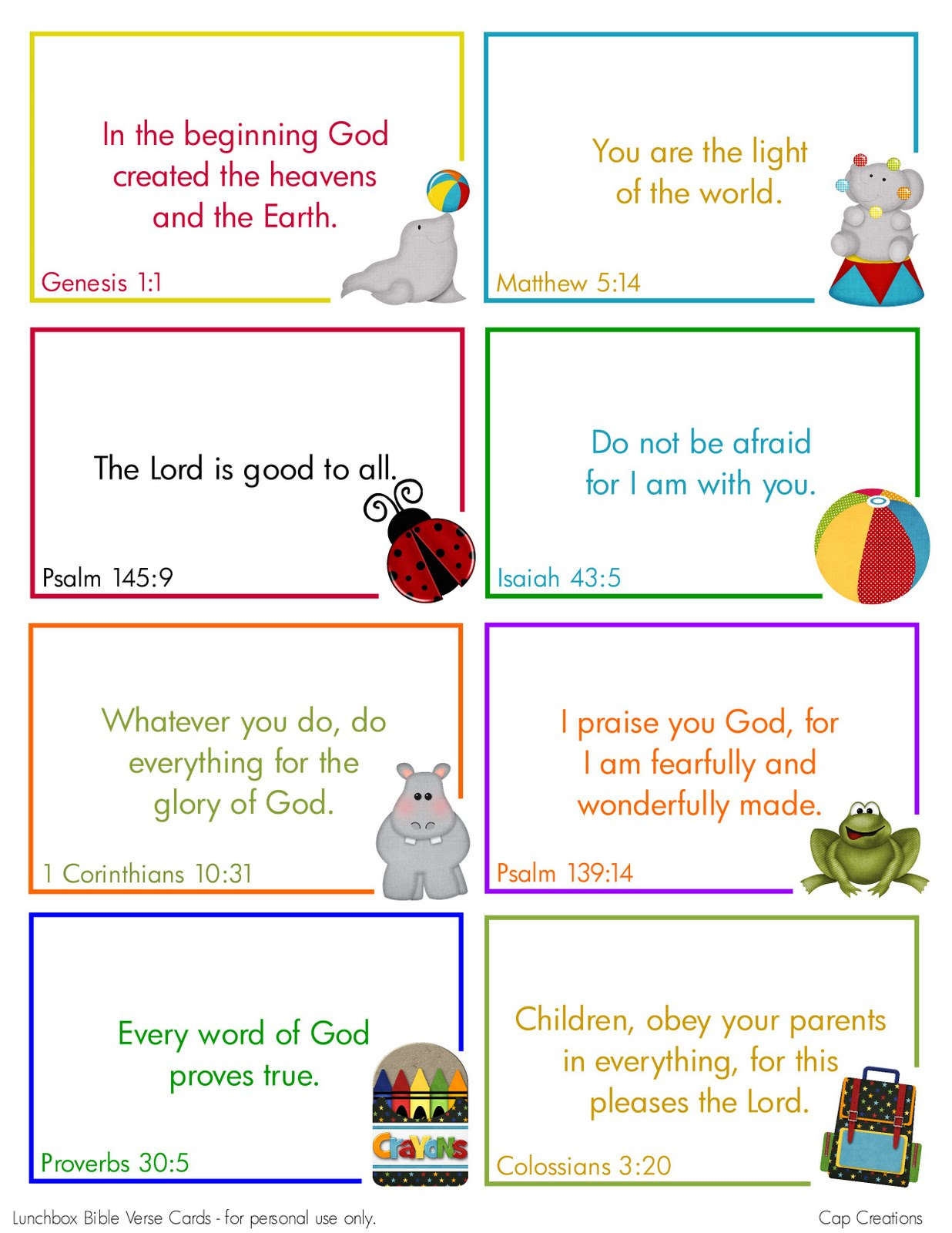 picture about Bible Verse Cards Printable titled Cap Creations: No cost Printable Lunchbox Bible Verse Playing cards