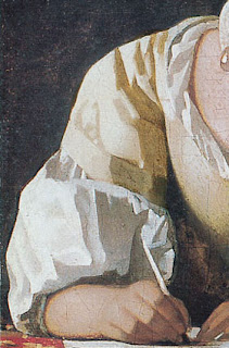 vermeer- detail- woman writing a letter with her maid