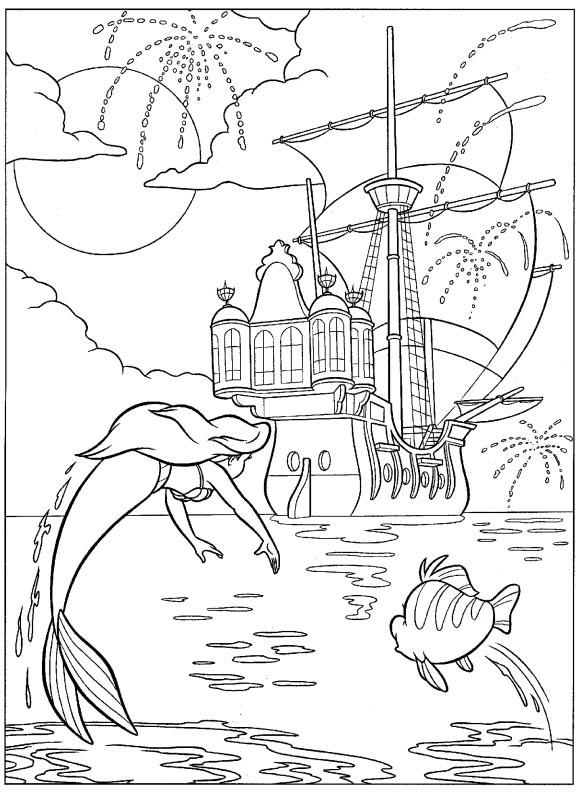 """youtube ariel the little mermaid coloring pages   Princesas Disney: Dibujos para colorear de """"La Sirenita"""""""