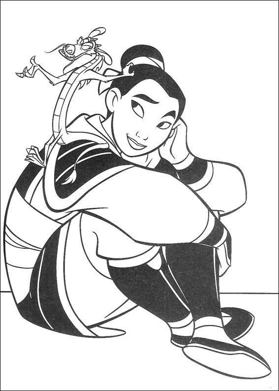 "Princesas Disney: Dibujos para colorear de ""Mulan"""