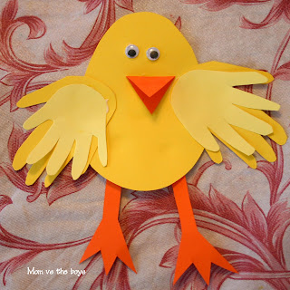 Easter Chick Craft using kids Handprints