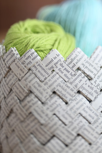 woven book text basket