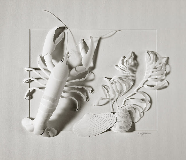 matted white paper sculpture lobster and shells