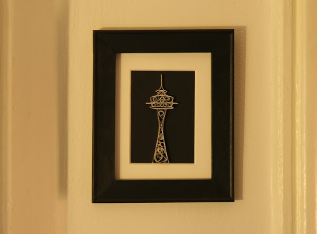 framed and quilled seattle space needle
