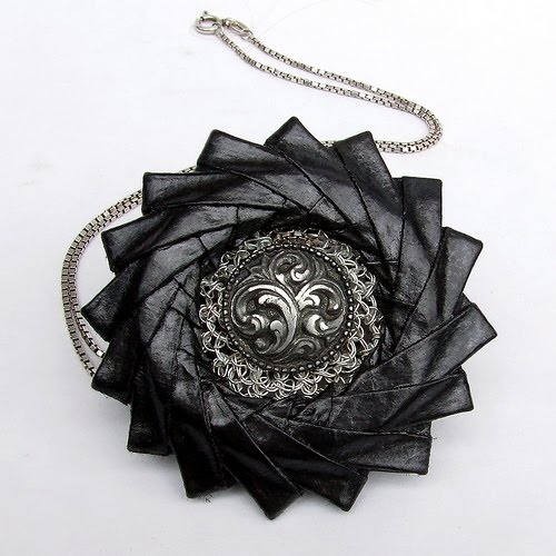 black and graphite paper origami necklace