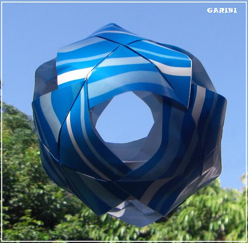 Blue and White Circular Origami Sculpture