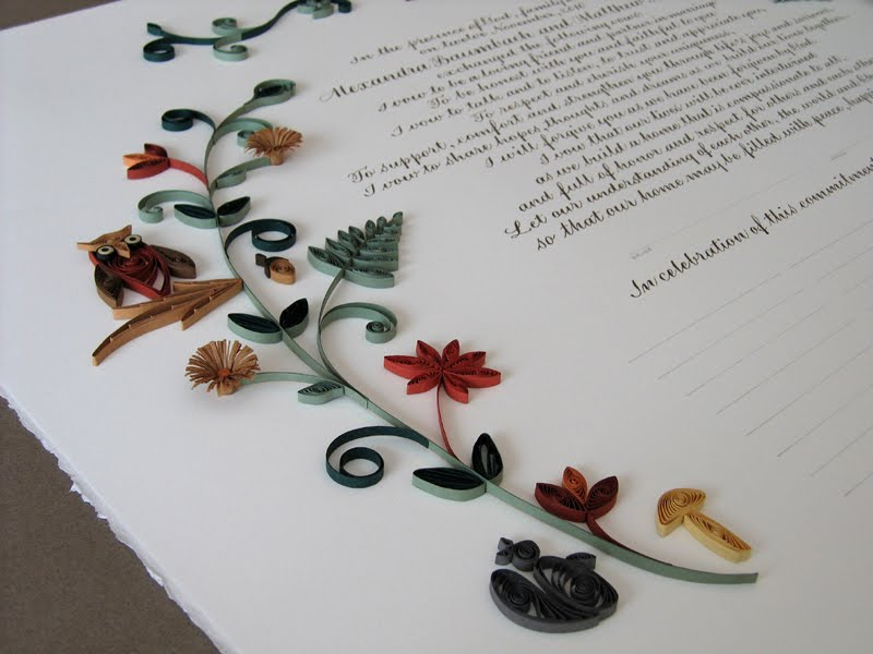 Quilled Woodland Quaker Marriage Certificate