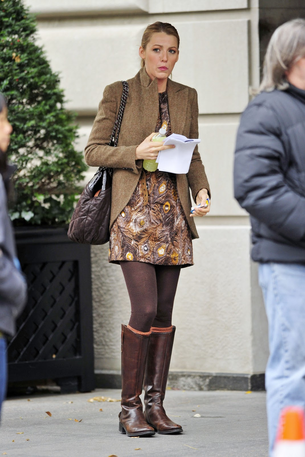 Brown Tweed Skirt Boots
