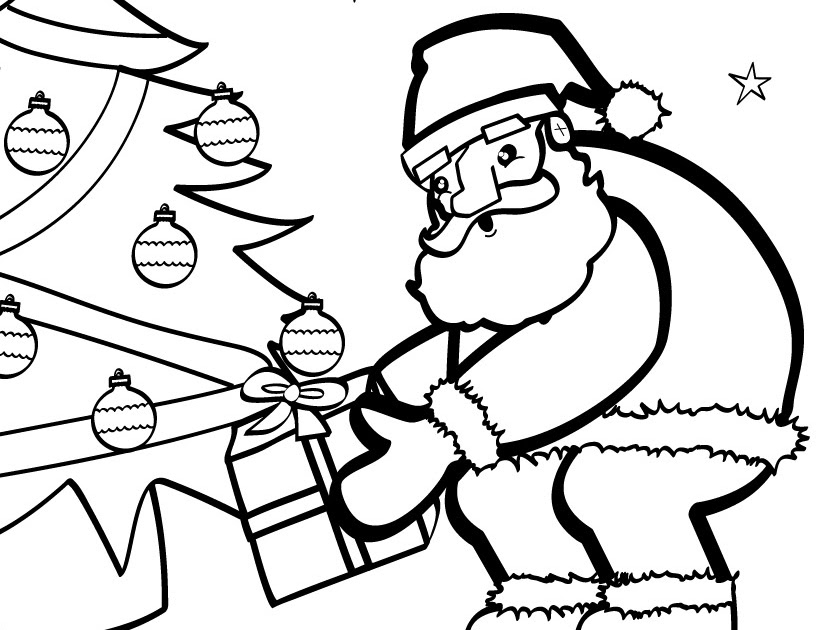 Christmas Tree And Santa Claus Coloring Page