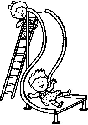 children online coloring pages | transmissionpress: Children on Slide - Kids Coloring Pages