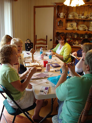 chatting and stitching