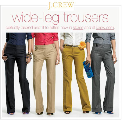 ef1e2f94d5b J.Crew sent an email about their (beautiful) wide leg trousers. I  absolutely adore the style and cut of J.Crew's trouser leg no matter what  the fabric ...