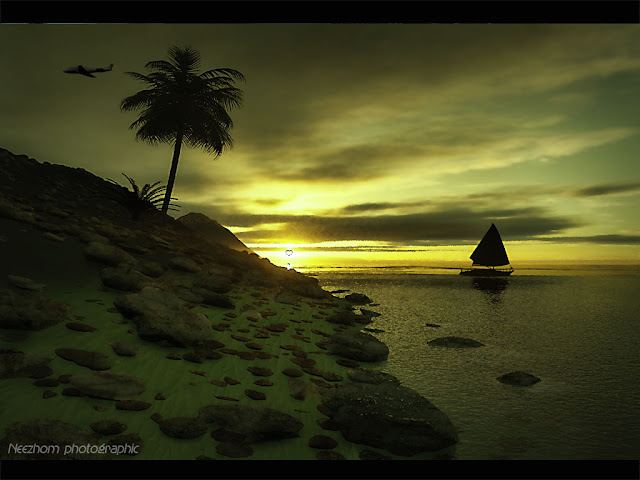 rockin beach sunset 3d landscape picture