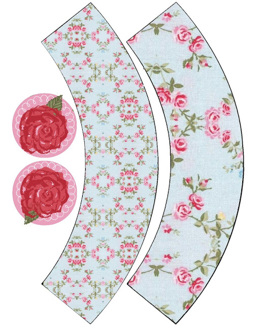 Shabby Chic Roses Free Printable Cute Cupcake Wrappers.