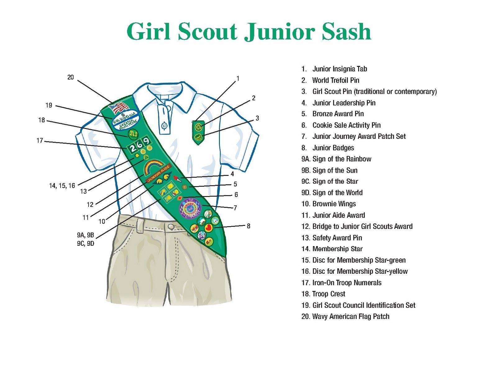brownie sash diagram hot tub wire girl scout troop 1905 junior and vest