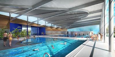illustration 3D de concours de centre aquatique