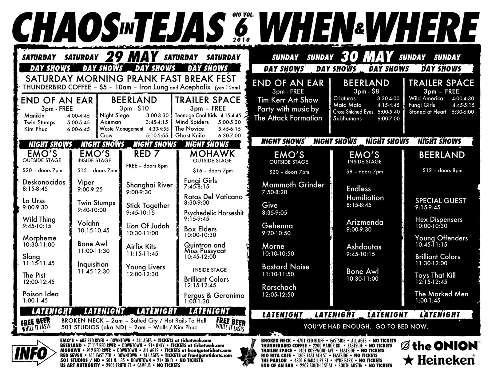 Chaos In Tejas Schedule Posted Punknews Org