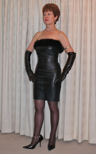 Mature leather dress