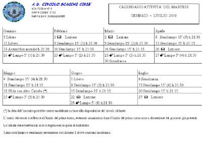 Calendario Tornei Scacchi.Circolo Scacchi Cirie Calendario Tornei Del Martedi Sera