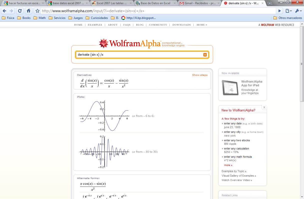 Wolfram Alpha en Español: enero 2012