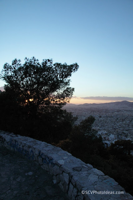 Twilight over Athens on Lycabettus hill