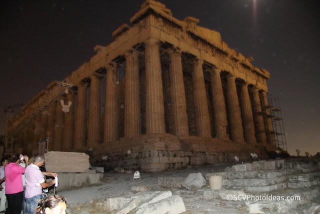 Acropolis moonlit temple of Athena