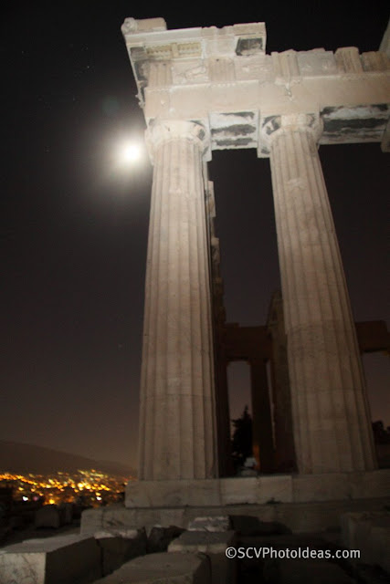 August full moon next to the corner pillar of Athena temple - flash