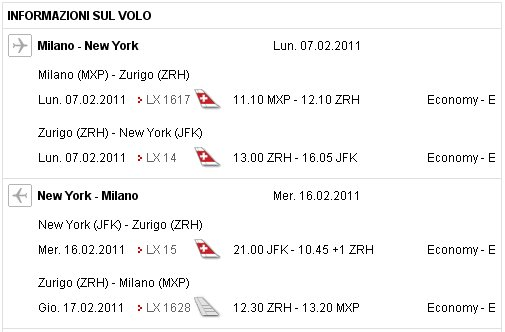 offerta Swiss Air Milano-NY