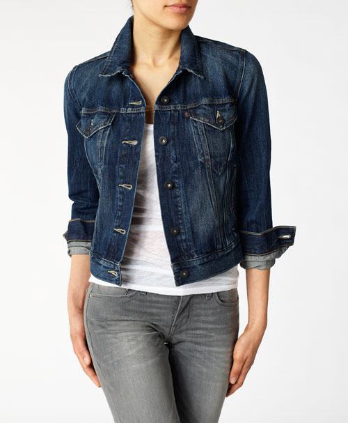 Jean Jacket With Sleeve Fabric