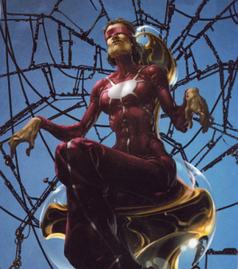 Madame Web, a strange ally of Spiderman.
